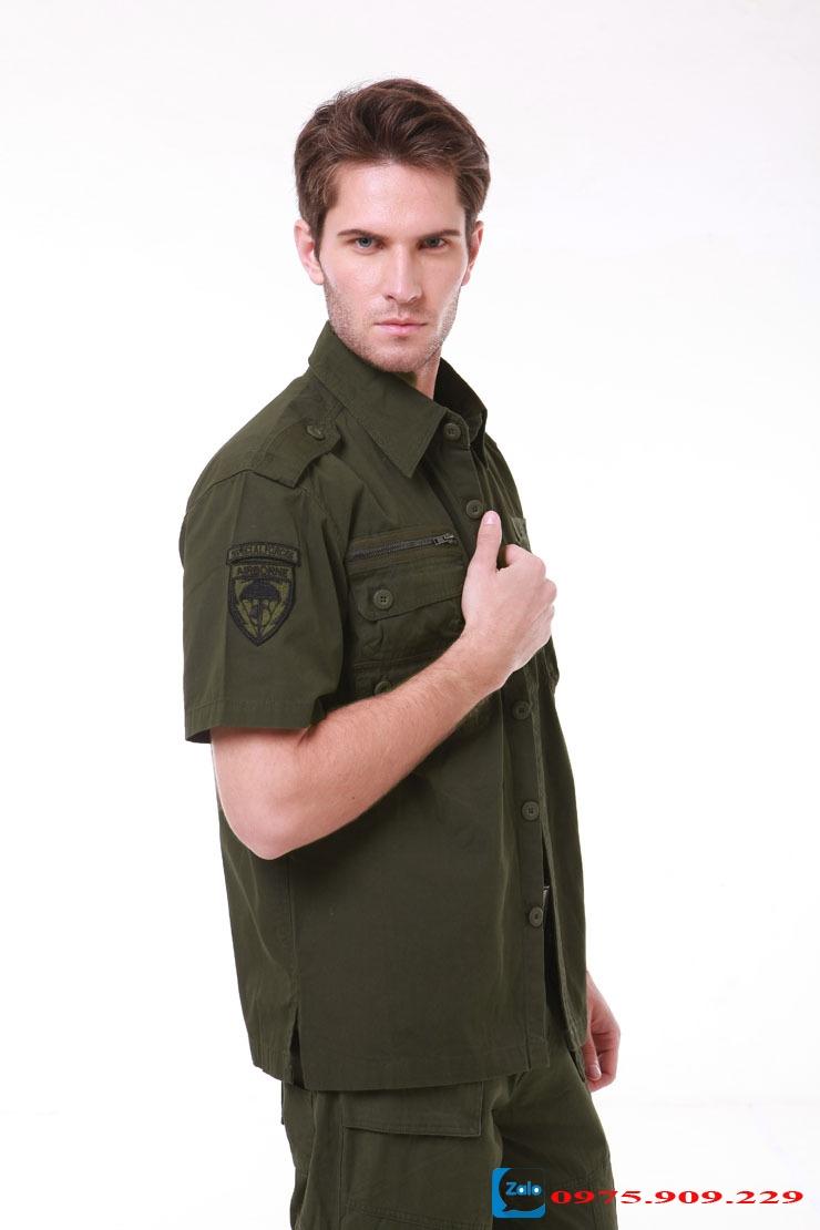 Áo sơ mi nam cộc tay phong cách lính Army (Xanh lính) ARM-827