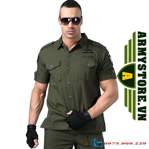 Áo sơ mi nam cộc tay phong cách lính Army ARM-805 (Xanh lính)
