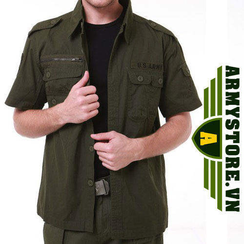 Áo sơ mi nam cộc tay phong cách lính Army ARM-827 (Xanh lính)