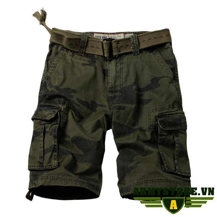 Quần short túi hộp nam rằn ri lính Army chính hãng ARM-863A (R.Ri Xanh)