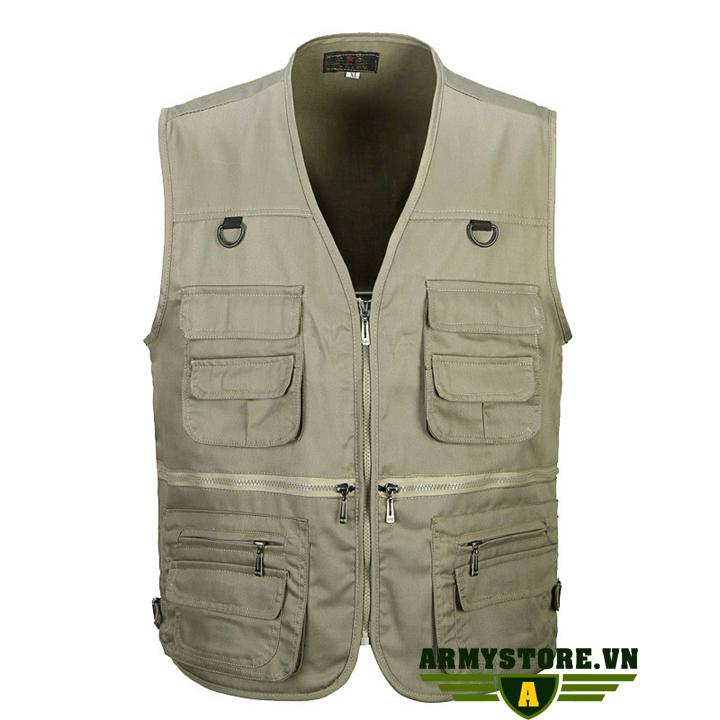 Áo gile lính U.S.Army - Quần áo lính Mỹ ARM-836 (Kem)