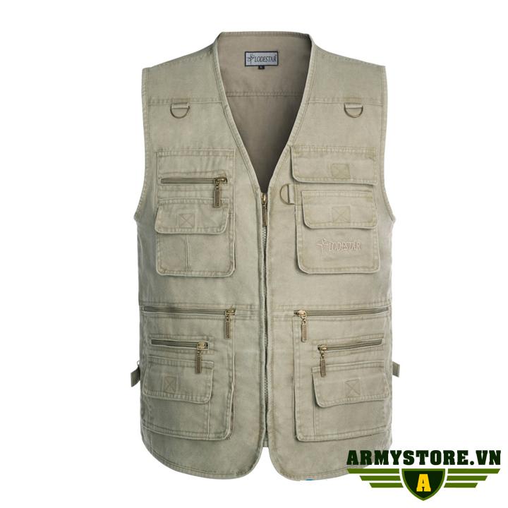 Áo gile lính U.S.Army - Quần áo lính Mỹ ARM-838 (Kem)