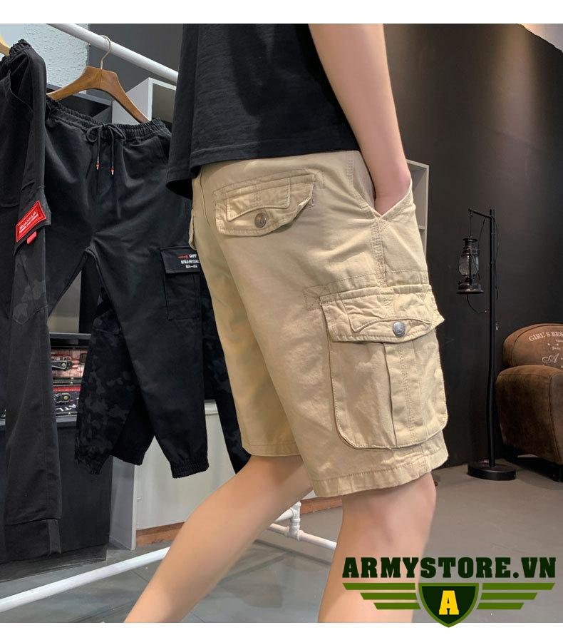 Quần short lửng nam túi hộp xanh lính  ARM-914