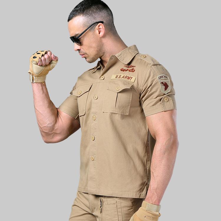Áo sơ mi nam cộc tay phong cách lính Army ARM-805 (Màu Cát)