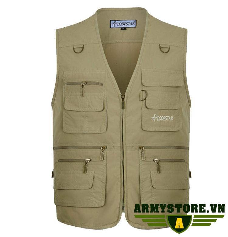 Áo gile nam phong cách lính ARM-966 (Kaki)