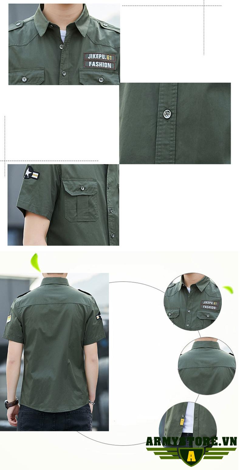 Áo sơ mi nam cộc tay phong cách lính ARM-978